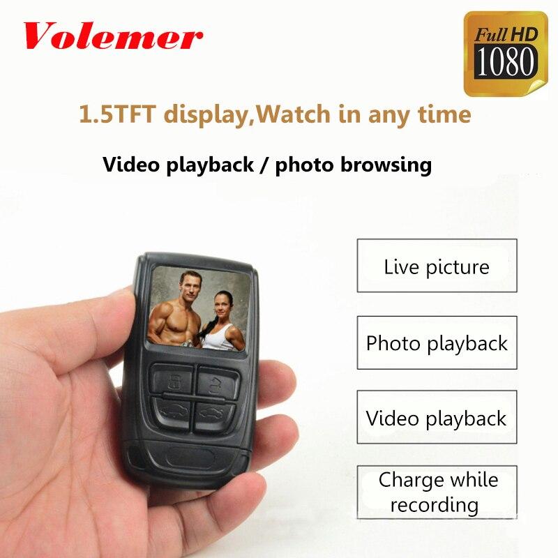 Volemer HD 1080P Mini Camcorder with Screen H.264 Micro DV Camera Motion Detection Video Recording Car DVR Invisible Mini Camera ultra mini screen free 3 0 mega pixels cmos motion detection video camera micro sd tf slot