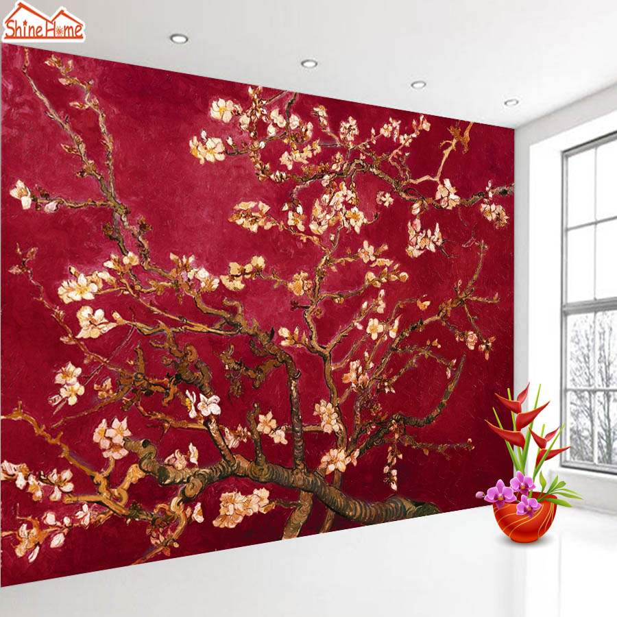ShineHome-Red Van Gogh Almond Blossom Painting Wallpaper Rolls For 3d Walls Wallpapers For 3 D  Living Rooms Wall Paper Murals