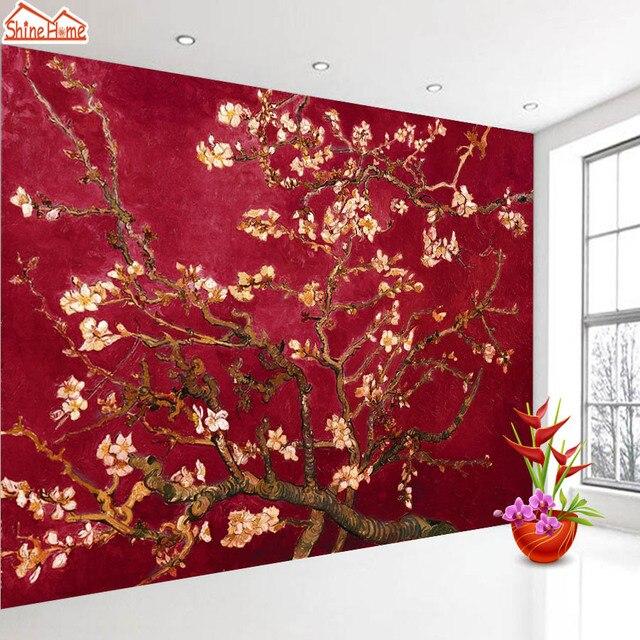 shinehome rood van gogh amandelbloesem schilderen behang rolls voor