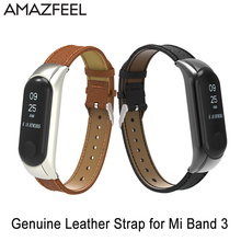 Genuine Leather Mi band 3 Band with Metal frame Smart Wristband Replacement Strap Smart Watch Bracelet for xiaomi miband 3