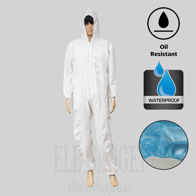 Disposable Waterproof Oil Resistant Protective Coverall For Spary Painting Decorating Clothes Overall Suit L/XL/XXL/XXXL