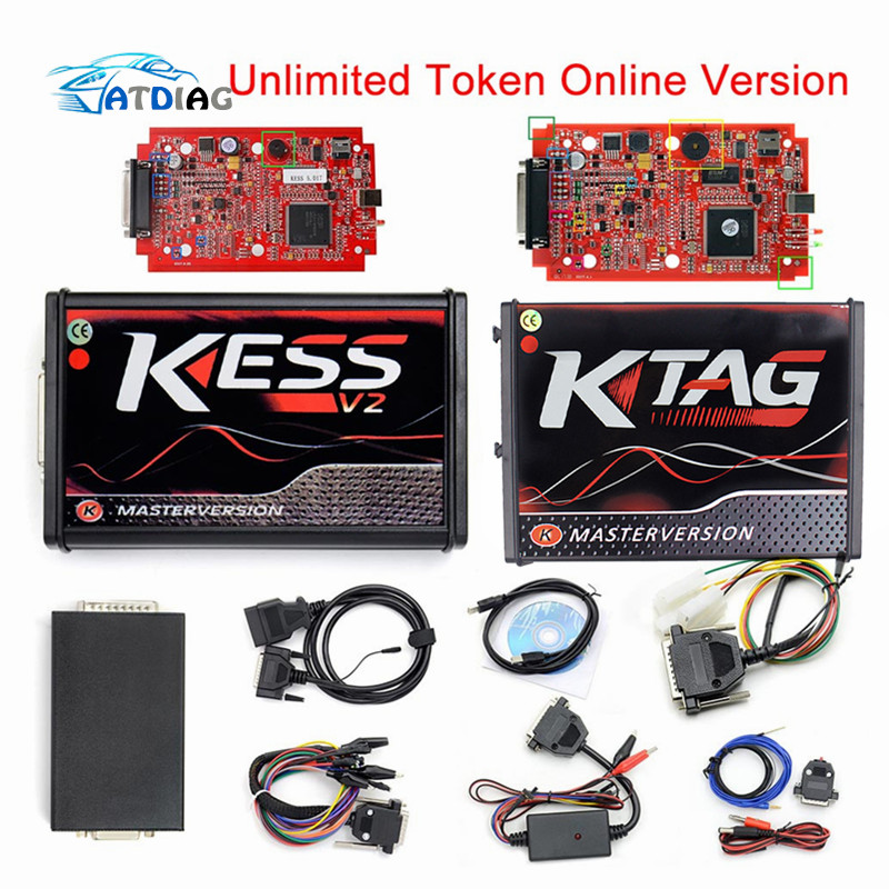 EU Online Version Red KESS V5.017 SW V2.47 No Token Limit Kess V2 5.017 HW OBD2 Manager Tuning Kit Best Car Truck ECU Programmer