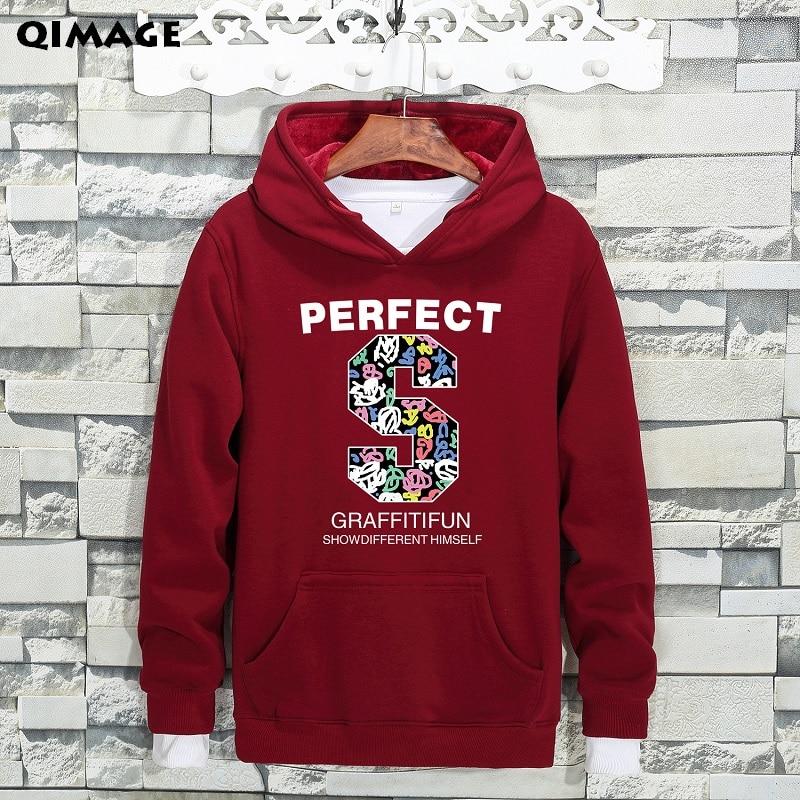 QIMAGE Causal Big Size Male Fleece Hoodie Loose Sweatshirt 2017 New Autumn Winter MensHoodiesThick Warm Pullover Black M-5XL 42