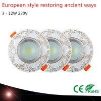 النمط الأوروبي استعادة سبل القديمة زخرفة السقف أسفل راحة أدى بقعة أضواء led دوونلايتس led مصابيح 220 فولت 3-12 واط