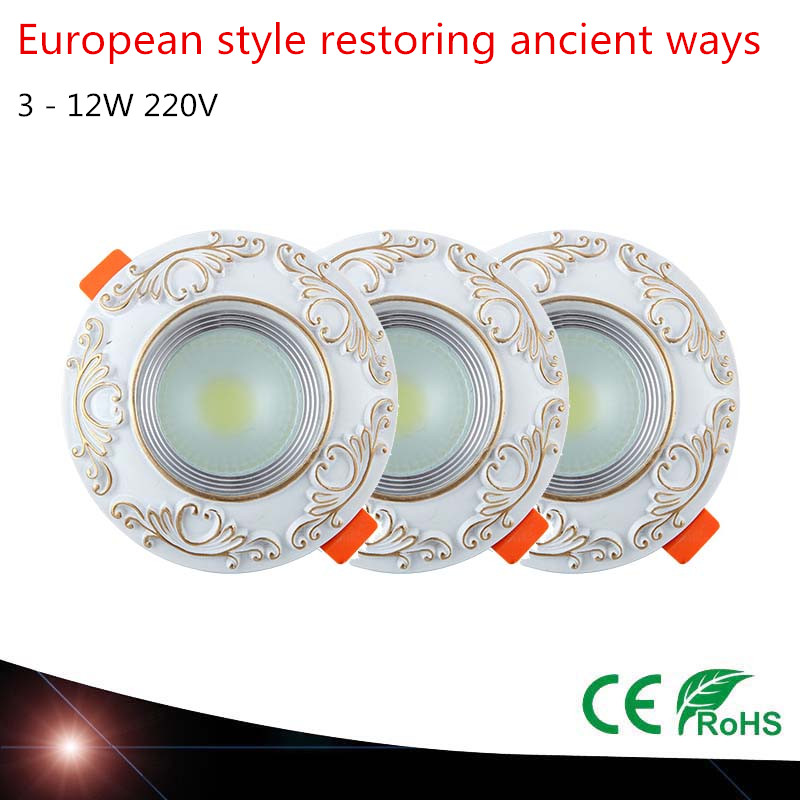 European style restoring ancient ways Recessed LED Spot lights LED Downlights decoration Ceiling Down LED Lamps 220V 3-12W