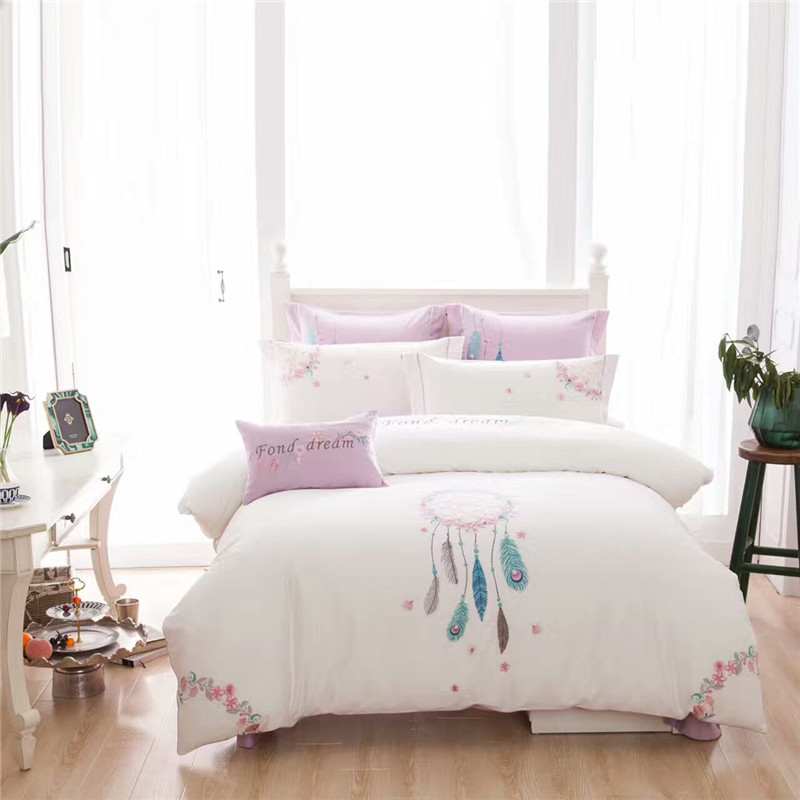 Luxury Chinese Embroidered Bedding Set King Queen Size White Bed Set 100%  Cotton 4/