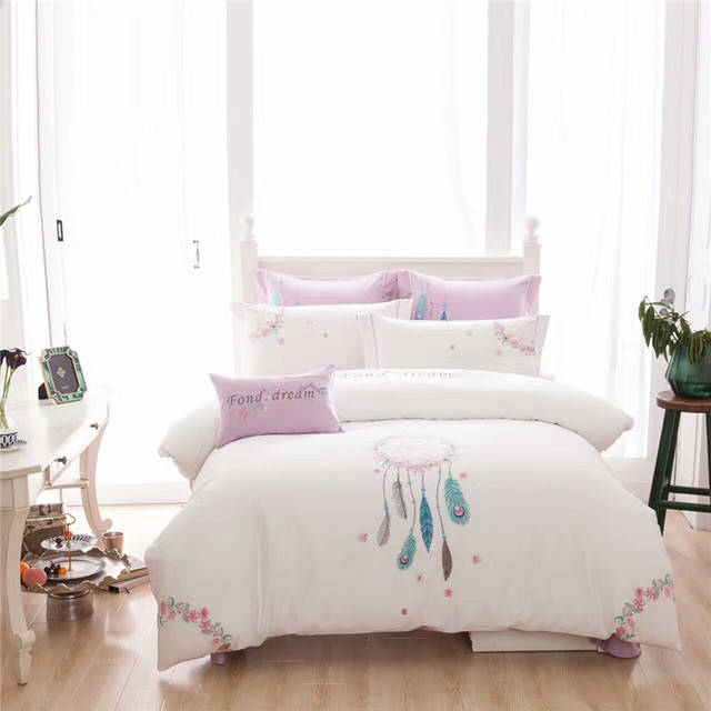 US $109.0 40% OFF|Luxury chinese embroidered bedding set King Queen size  white bed set 100% cotton 4/7pcs bedsheet flat sheet duvet cover set-in ...
