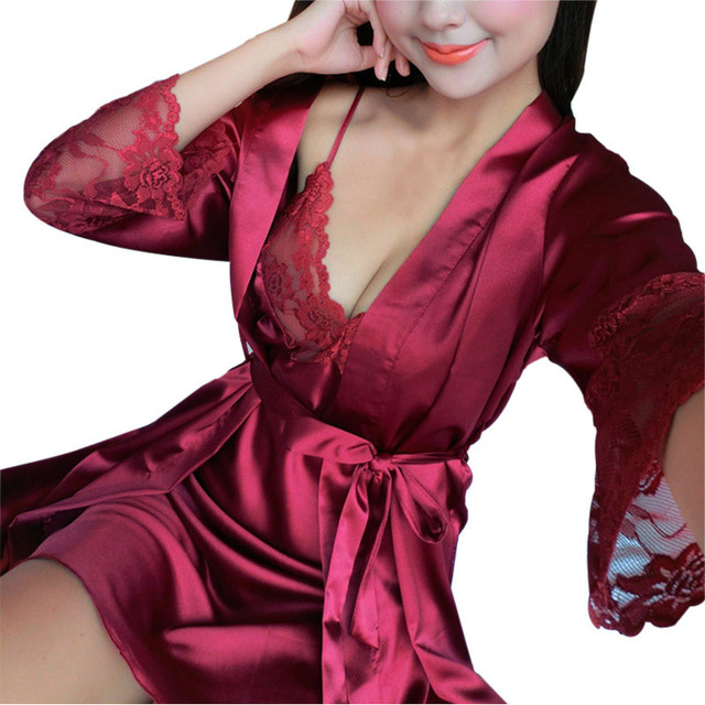 New Robe Sexy Gown Sets Night Strap Dress Women + Lace Sheer Long Sleepwear For Ladies