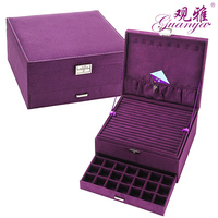 Guanya Red Pink Purple Case Velvet Wood Boxes Hot Sale Fashion Large Drawer jewelry Display Organizer Storage Carrying Cases Box