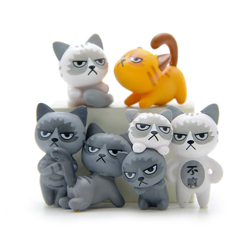6Pcs Set Kawaii Zakka Cute Unhappy Cat Doll Diy Mini Cartoon Figure Fairy Garden Miniature Home