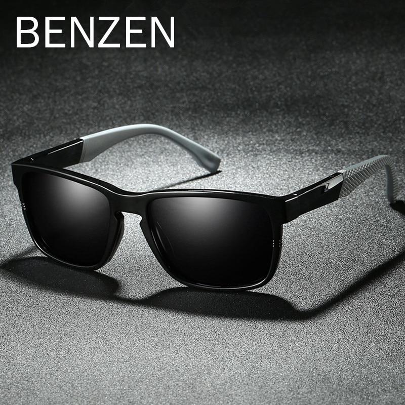 BENZEN TR 90 Polarized Sunglasses Men Cool Male Sun Glasses UV Protection Driving Glasses Eyewear Black With Case 9308