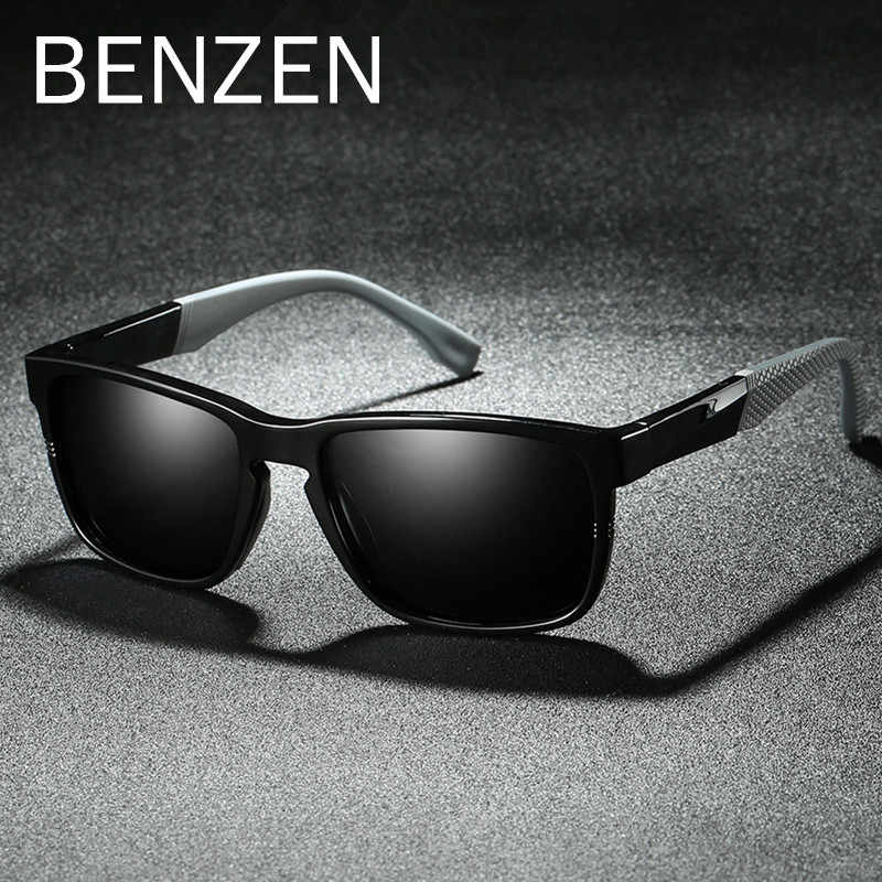 BENZEN TR 90 Polarized Sunglasses Men Cool Male Sun Glasses UV Protection Driving Glasses Eyewear Black With Case 9308