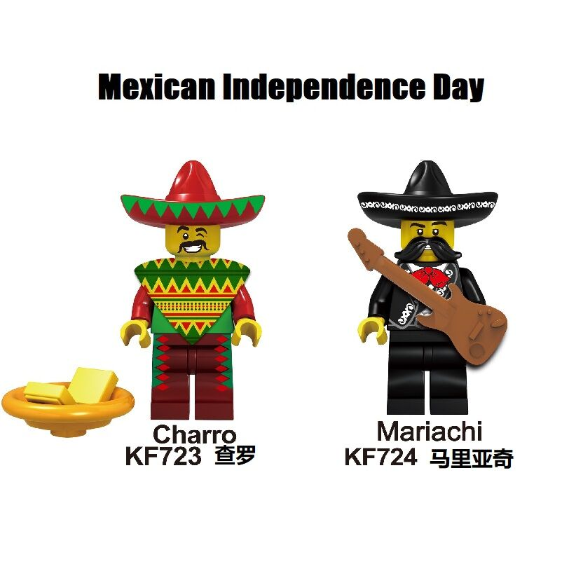 Super Heroes Mexican Independence Day Mariachi Charro Building Blocks Dolls Bricks Action For Children Gift Toys KF723 KF724
