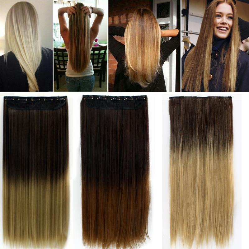 24 60cm clip in straight long hair extension hair extensions de cheveux 6 colors synthetic hairpiece natural hair ombre color - Dcoloration Cheveux Colors