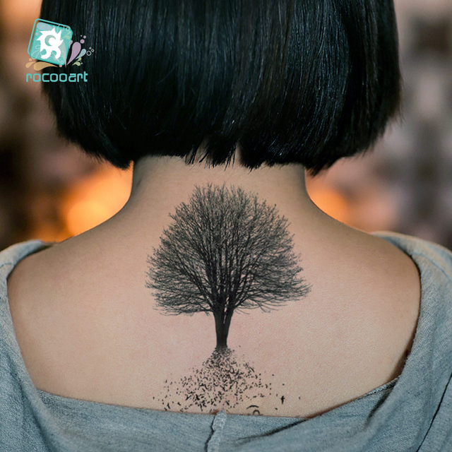 New arrival 2017 black palm tree tattoo designs waterproof for Fake name tattoos