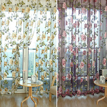 100*200cm 1 pc  Embroider hollowing out Pastoral style floral bedroom curtain decorative window yarn