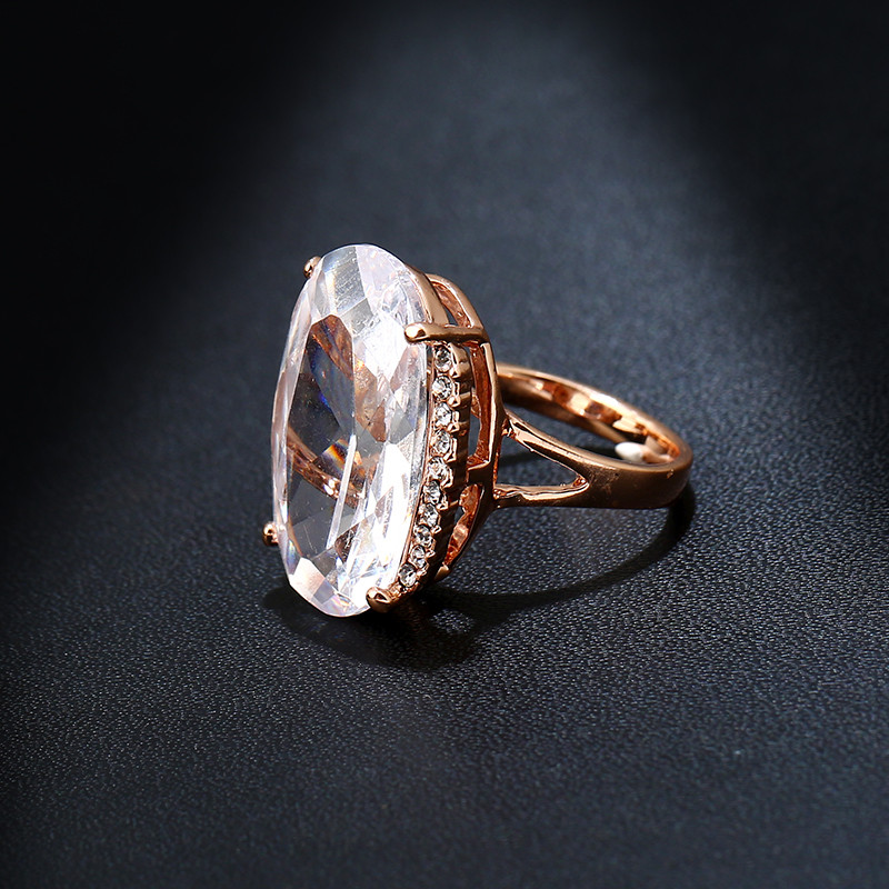 Ks Gadgets Rose Gold Color Cubic Zirconia Wedding Ring Large Oval White Austrian Crystal Rhinestone Engagement Rings For Women