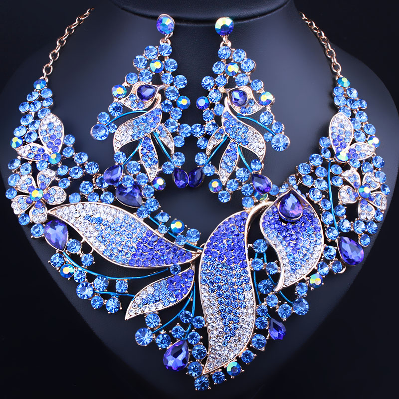 African Beads Jewelry Full Crystal Rhinestones Leaf shaped Necklace Earrings set Luxury Bridal Jewelry sets wholesale 5 set bohemian layered geometric strand 3 pcs jewelry sets african beads bridal crystal necklace set bracelet earrings