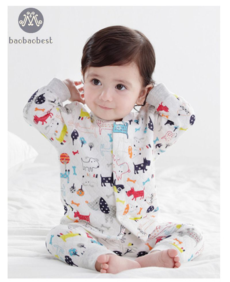 Cow Dog printed New Children Kids Boys Clothing Sets Newborn baby Suits Fall Cotton T-shirt
