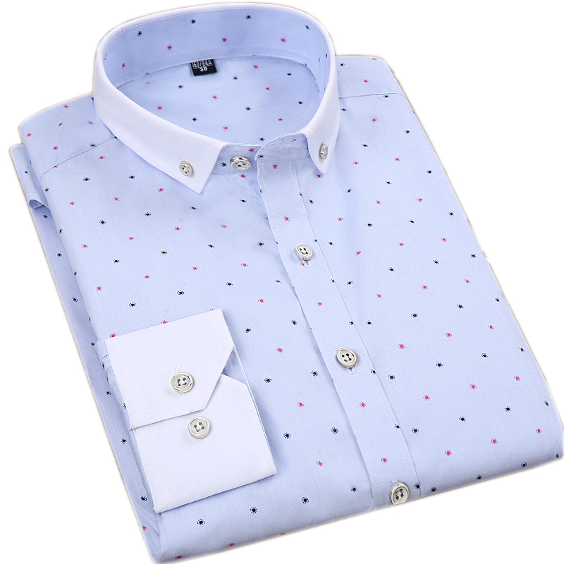 100% Cotton Printed Long Sleeve Dress Shirts