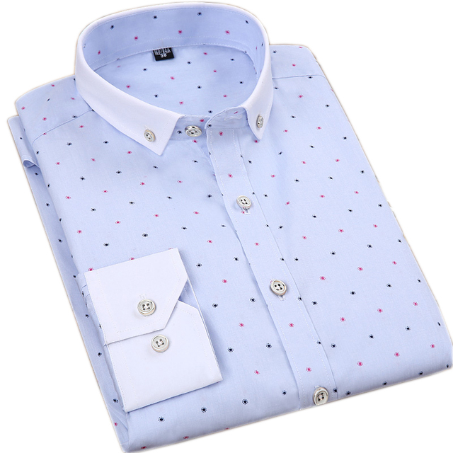 100% Cotton Printed Long Sleeve Dress Shirts