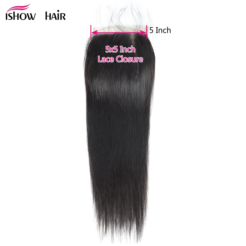 Ishow Brazilian Straight Hair Closure Free Part 5X5 Lace Closure With Baby Hair 8-20 Natural Color Non Remy Human Hair Closure