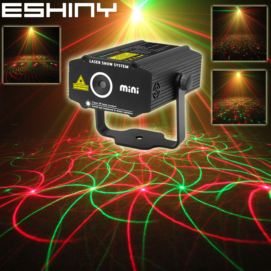 ESHINY Mini 4in1 4 Mönster Whirlwind R&G Laserprojektor Belysningsscen Disco DJ Club KTV Xmas Bar Family Party Light Show P17