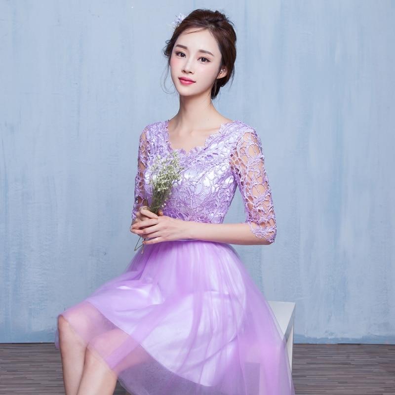 2017 new Bridesmaid Dresses plus size stock cheap light purple lace princess a line short sexy half sleeve romantic JYX840