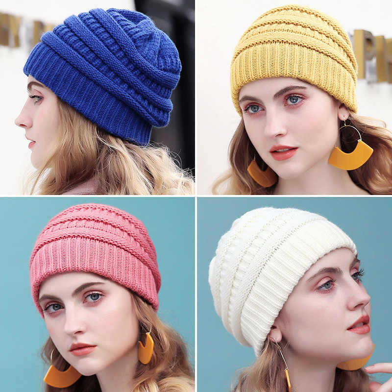 e71997b15 Drop Shipping Warm Beanie Women Cap Winter Hats For Women Stretch Cable  Knit Ski Cap Hat With Tag Slouchy Soft Skullies Beanie