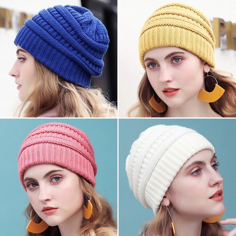 Drop Verschiffen Warme Beanie Frauen Kappe Winter Hüte Für Frauen Stretch Kabel Stricken Ski Cap Hut Mit Tag Slouchy Weiche Skullies Beanie
