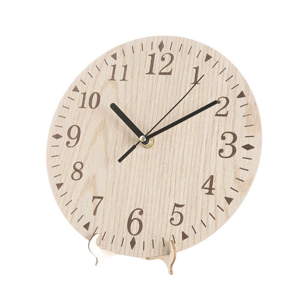 23CM Vintage Wooden Wall Clock Chic Round Home Kitchen Office Living Room Decor TB Sale