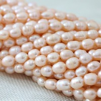 Natural Pink Freshwater Pearl 7 8mm Rice Beads Women Jewelry 15inch