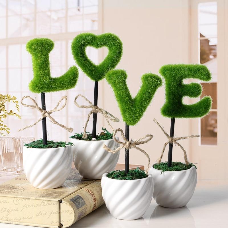 Green Artificial plants Bonsai fashion Small artificial flower fake bonsai trees LOVE wedding decorations flowers