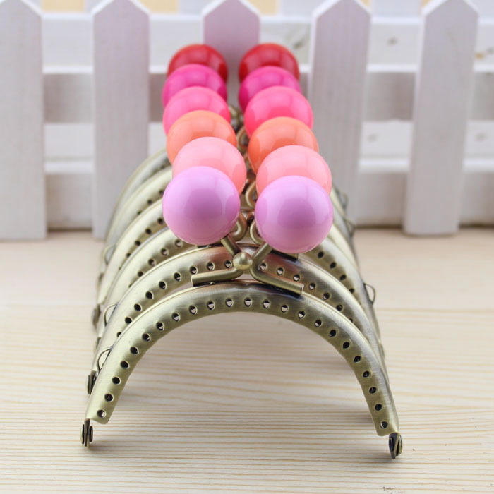 Free Shipping,8.5cm Semicircle Bronze Candy Bead Metal Purse Frame, Frame handle,18 Color Cute Coin Purse Frames,18Pcs/Lot K061