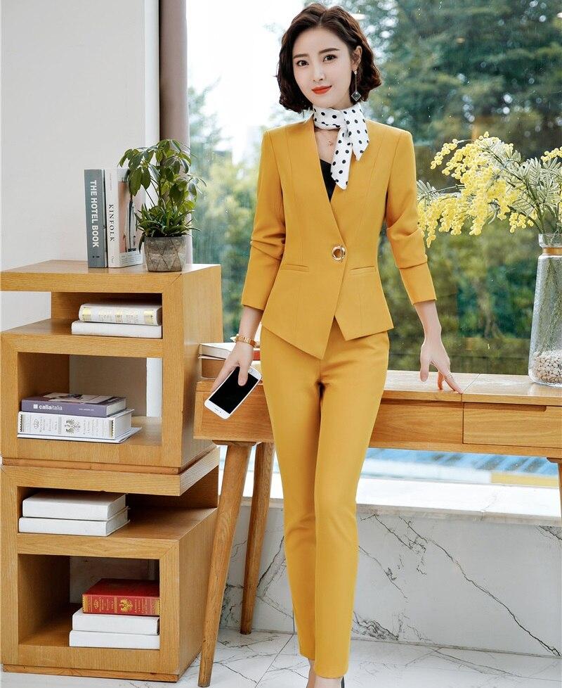 Nouveau 2018 Formelle pantalon femmes Costumes Femmes complet Élégant Bureau Dames Uniforme Designs Blazers et Vestes et Pantalons Ensembles