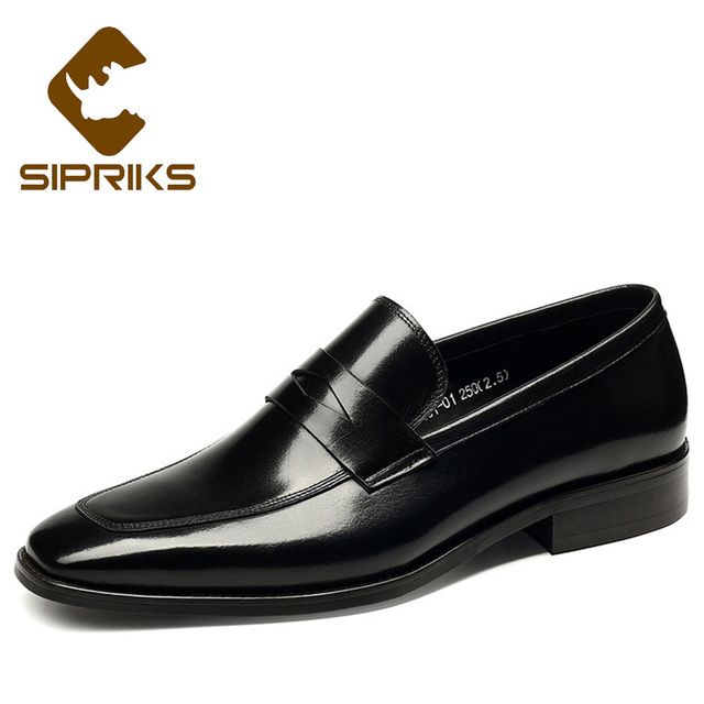 ba3e46abc6e7a Sipriks Mens Penny Loafers Square Toe Black Leather Shoes Elegant Slip On  Dress Shoes Mens Moccasin Slippers Male Social Shoes