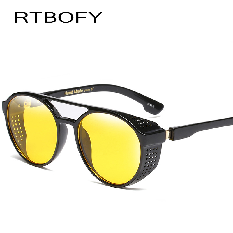RTBOFY New Fashion SteamPunk Sunglasses Men Round Side Mesh Style Sun Glasses Brand Designer Vintage Punk Eyewear night vision