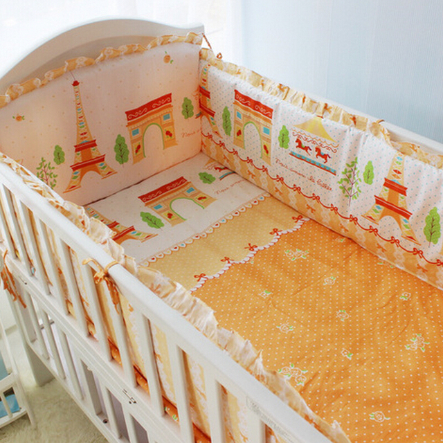 100% Cotton Fairy Tale World Design Baby Crib Bedding Set 7PCS Newborn Baby Cot Bedding Set 120*60CM Crib Bed Linen Kit
