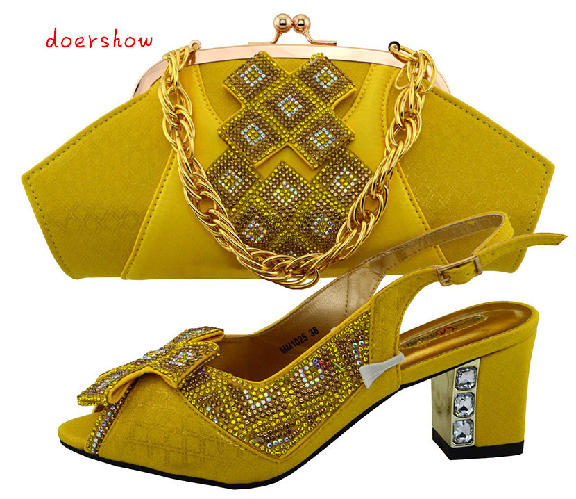 doershow New Italian Style Shoes And Matching Bag Set Fashion African Pumps Shoes And Matching Bag Sets For Wedding PUW1-48