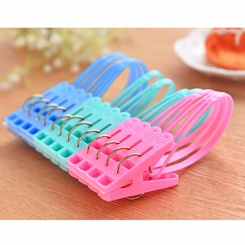 12Pcs PP Clothes Pegs Portable Home Travel Hangers Rack Towel Clothespin Windproof Clothes Pegs Mixed Color