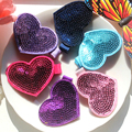 F71 Free shipping sale female baby hair heart love sequined hair clips Flash bead double 6 cm 5pcs/lot Send mixed color