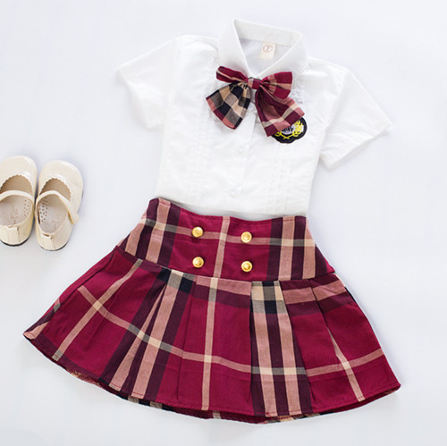 Kids girls short-sleeved suit 2017 new summer children's cotton casual White T-shirt+ plaid skirt baby girls clothes 2-9 years 2 2017 new style fashion mom and girls short sleeve letter t shirt dot black skirt set summer kids casual clothes parenting 17f222