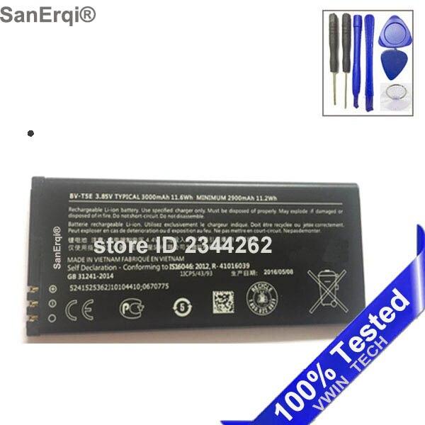 Sanerqi Испытано Новая bv-t5e bvt5e BV t5e Батарея для Microsoft <font><b>Lumia</b></font> <font><b>950</b></font> rm-1106 rm-1104 RM-110 3000 мАч Батареи