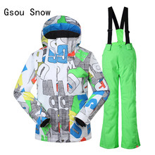 Gsou Snow Boys Kids Ski Jacket Pants Windproof Waterproof Skiing Snowboard Outdoor Sport Wear Camping Riding Children Suit Set