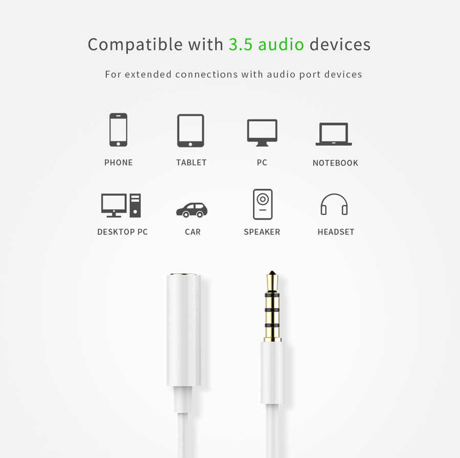 medium resolution of  3 5 mm 4 pole audio extension cable male to female jack aux stereo microphone headphone