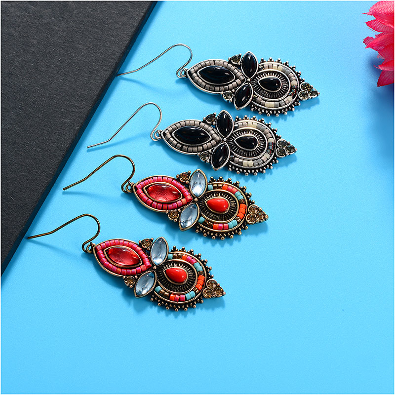 HONGYE New Antique Earrings Crystal Multicolor Beads Water Drop Dangle Earrings Pendientes Mujer Ethnic Jewelry Women Acessories