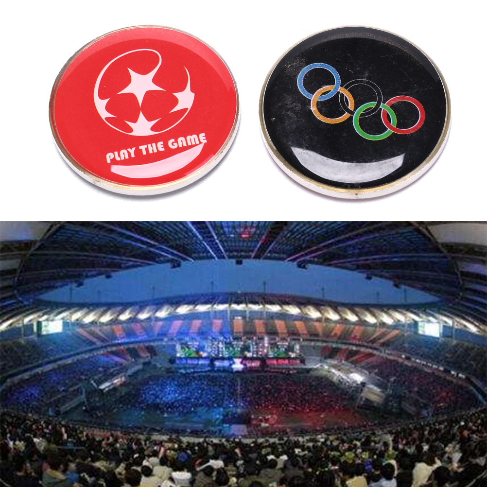 1PC Sports PVC Soccer Football Champion Pick Edge Finder Coin Toss Referee Side Coins For Table Tennis Football Matches