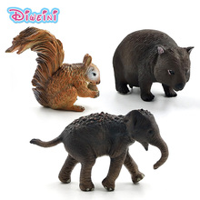 Simulation small Squirrel Elephant Wombat forest animal model figure plastic Decoration educational toys figurine Gift For Kids plastic simulation insect model decoration figurine toys gift stag spider ladybird beetle butterfly figure toys for kids