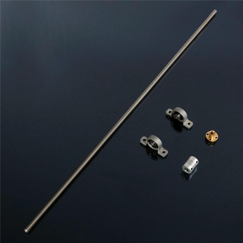 T8 Lead screw 600mm 8mm + Brass Copper Nut + Bearing Bracket + Aluminium Shaft Coupling for 3D printer stepper motor