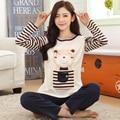 Мода осень-весна прекрасный мультфильм пижамы удобные 100% хлопка наборы пижамы женщины гостиная установить ночная рубашка медведь